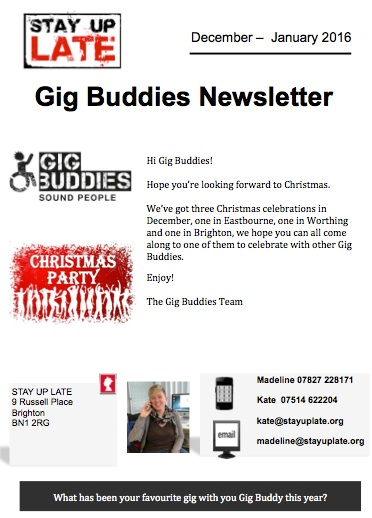 Gig Buddies newsletter
